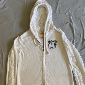 White Hollister Lace Zip-Up Hoodie